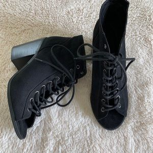 Urban Outfitters Black Peep Toe Lace Up Booties
